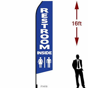 16ft Outdoor Advertising Flag With Pole Set Ground Stake restrooms Inside