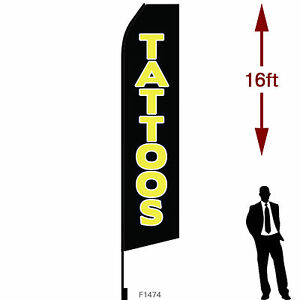 16ft Outdoor Advertising Flag With Pole Set Ground Stake tattoos