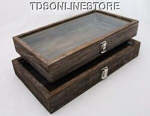 Rustic Wood Glass Top Display Cases Antique Coffee Color Package Of 2