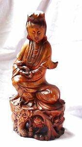 Antique 19c Chinese Pear Wood Carved Statue Of Quan Yin Seated On Dragon Lotus