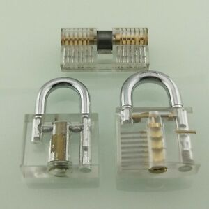 Transparent Cutaway Practice Padlock double Sides Lock For Locksmith Learning