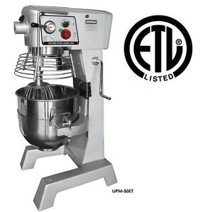 Uniworld 30 Quart Dough Mixer W Guard Timer 24 x20 x44 Etl Approved Upm 30et