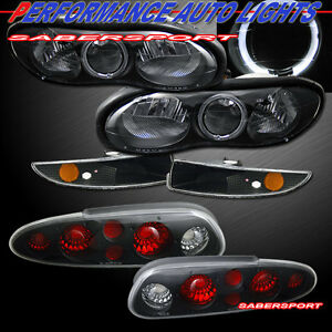 Combo Black Halo Headlights W Bumper Lights Taillights For For 98 02 Camaro