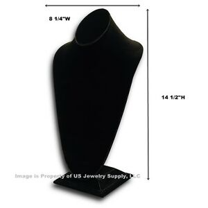 Tall Black Necklace Pendant Chain Display Bust 8 1 4 w X 6 3 4 d X 14 1 2 h