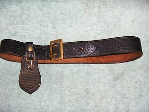 Vintage Thompson Inc B320s Law Enforcement Duty Belt Sz 38 Key Holder
