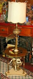 Vintage Rococo Italian Lamp W Attached Glass Table 2 Figural Women Detailed Big