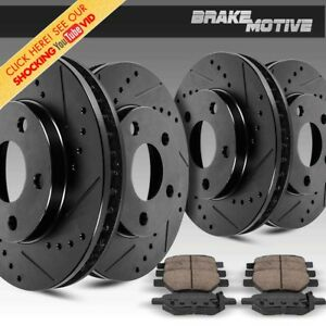 Front Rear Kit Black Drilled And Slotted Brake Rotors Ceramic Pads Chevy Gmc