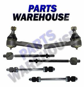 6 Pc New Premium Inner Outer Tie Rod End Sway Bar Kit Mercury Ford Mazda 95 04