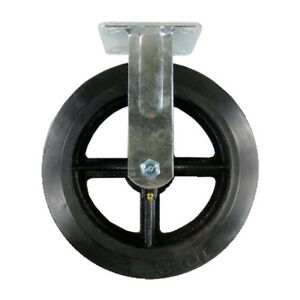 10 X 2 Heavy Duty rubber On Cast Iron Caster Rigid