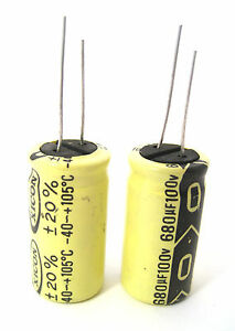 680uf 100v Radial Lead Electrolytic Capacitors 2 lot Popular In Power Supplies