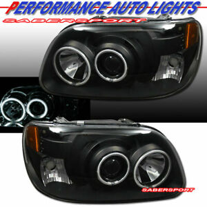 Set Of 1pc Style Black Projector Headlights W Halo For 1995 2001 Ford Explorer