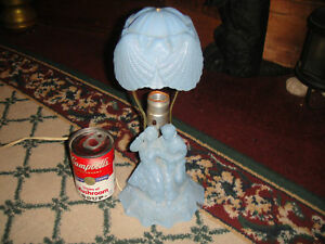 Antique Blue Glass Courtship Courting Lamp W Shade Pressed Glass Lovely Glass