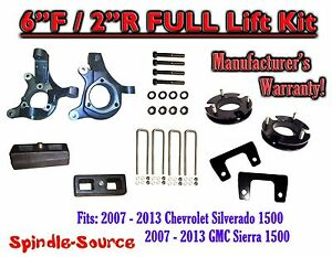 2007 2013 Chevy Silverado Gmc Sierra 1500 6 2 Spindle Full Lift Kit 2wd
