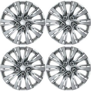 4 Pc Hub Caps Abs Silver Lacquer 16 Inch Rim Wheel Skin Cover Center Cap Set