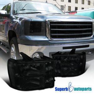 For 2007 2013 07 13 Gmc Sierra Pickup Smoke Headlights Head Lamps Replacement