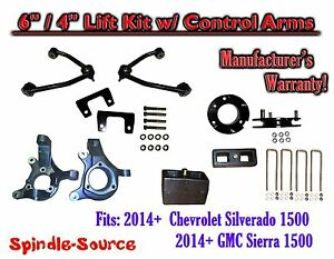 2014 Chevy Silverado Gmc Sierra 1500 6 4 Spindle 2wd Lift Kit Control Arms