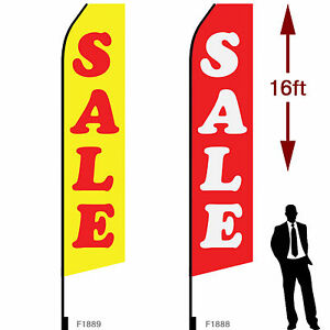 2pcs 16ft Outdoor Advertising Flags With Pole Set Ground Stake sale