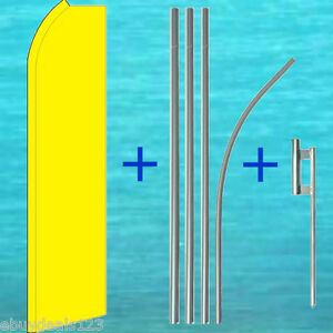 Solid Yellow Flutter Flag Pole Mount Kit Tall Wind Feather Swooper Banner Sign