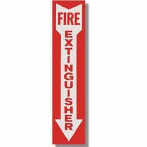 1 sign 4 X 18 Self adhesive Vinyl fire Extinguisher Arrow Sign new