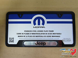 Satin Black Stainless Steel Jeep Logo License Plate Frame Mopar Oem