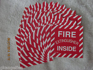 lot Of 20 fire Extinguisher Inside Self adhesive Vinyl Sign s 4 X 4 New
