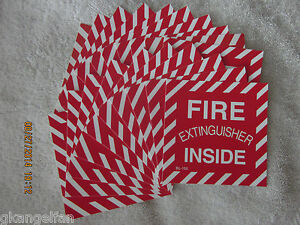 lot Of 50 fire Extinguisher Inside Self adhesive Vinyl Sign s 4 X 4 New