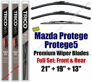 Wiper Blades 3pk Front Rear Fit 2002 2003 Mazda Protege Protege5 19210 190 30130
