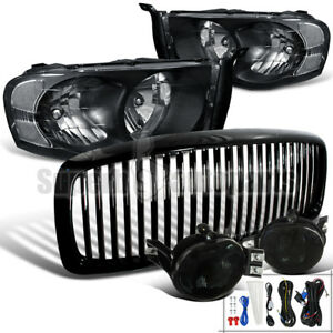 2002 2005 Dodge Ram Headlights Black Vertical Hood Grille Fog Bumper Lamp Smoke