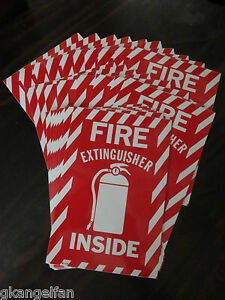 100 signs Fire Extinguisher Inside With Picture 6 x9 sign self Adhesive Vinyl