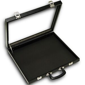 X large Black Glass Top With Handle Portable Sales Display Storage Case With Pad