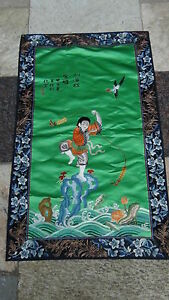 Antique Chinese Gold Stitches Silk Embroidery Of A Boyplaying Frog