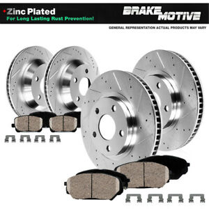 Front And Rear Drilled Slot Brake Rotors Ceramic Pads For Nissan G37 350z 370z