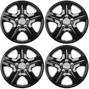4pc Fits Chevy Impala Snap On 16 Inch Ice Black Glossy Hub Caps Wheel Cover Cap