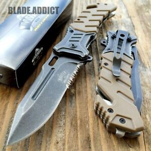 8quot; MILITARY Tactical Combat Spring Open Assisted Pocket Rescue Knife EDC $10.95