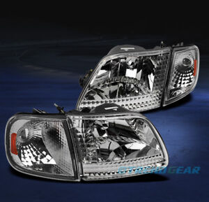 1997 2003 Ford F 150 1997 2002 Expedition Crystal Head Light Corner Chrome Amber