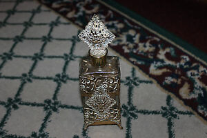 Superb Ormolu Gilded Gold Perfume Bottle Intricate Designs Glass Perfume Bottle