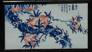 Early 20c Chinese Large Blue White Hand Painted Porcelain Plaque Peaches Signed