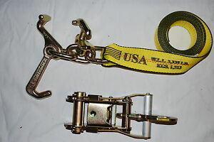2 Rtj Frame Cluster Hook Ratchet Straps Fixed Snap Hook Tow Trailer Tie Down
