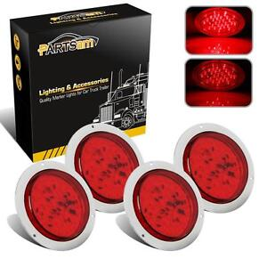 4x4 Round 40 Led Flange Mount Sealed Screw Red Stop Turn Tail Light Submersible