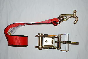 8 Red Tj Cluster Frame Hook Ratchet Straps Fixed Snap Hauler Trailer Tie Down