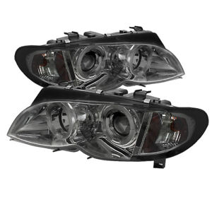 Bmw 02 05 E46 3 series 4dr Smoke Dual Halo Projector Headlights 325i 330i Sedan