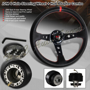 350mm Black Red Pvc Leather Deep Dish 6 Hole Steering Wheel For Toyota Hub