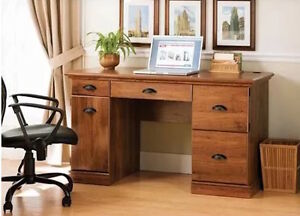 Home Computer Desk Office Furniture Drawers Executive Table Oak Laptop New Wood
