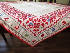 Gorgeous Vintage Handmade Cotton Silk Embroidered Multi Color Linen Tablecloth