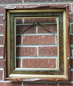Antique Eastlake Victorian Incised Gilt Carved Wood Walnut Frame 10 X 12 C1870s