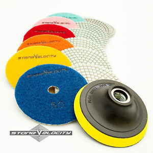 Diamond Polishing Pads 4 Inch Wet dry 15 Piece Set Granite Stone Concrete Marble