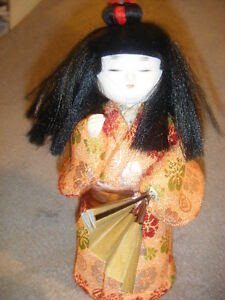 Vintage Japanese Gofun Beautiful Doll W Fan Long Blk Hair Gold Orange Japan