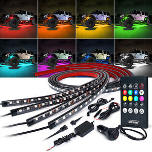 Xprite 4x Rgb 8 Color Led Lights Strip Under Car Tube Underglow Underbody System