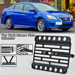 For 13 16 Nissan Sentra Front Tow Hook License Plate Relocator Mount Bracket B17