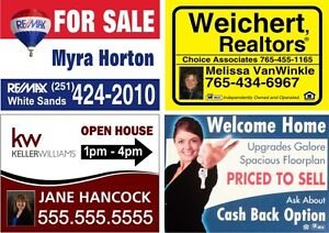 6 Full Color 24x18 2 sided Yard Signs Real Estate Corrugated Plastic